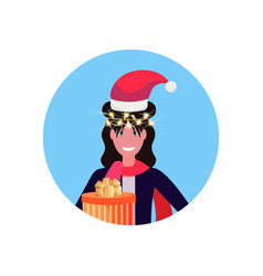 brunette woman wearing red hat merry christmas vector image