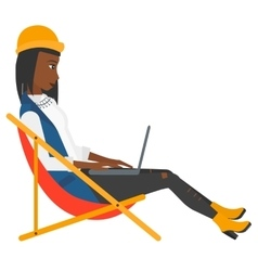 Business woman sitting in chaise lounge with vector