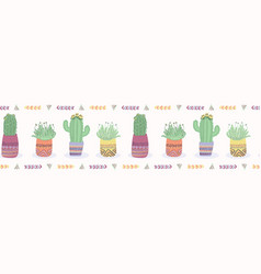 Cactus in plant pot seamless border pattern vector