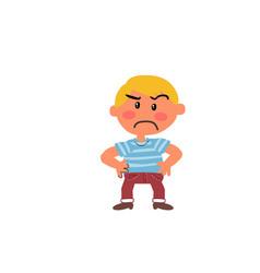 Cartoon character boy serious vector