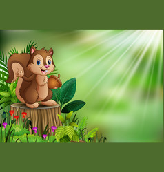 cartoon funny squirrel holding pine cone and stand vector image