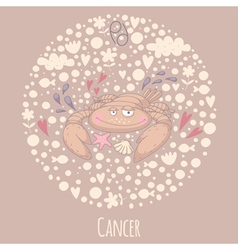 Cartoon of the crab Cancer vector image