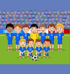 cartoon soccer kids team at a stadium vector image