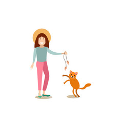 Cat owner female with her pet flat vector