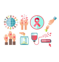 charity and blood donation medical and financial vector image