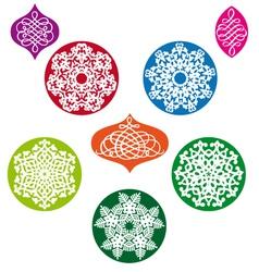 Christmas balls with snowflake pattern vector image