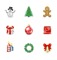 Christmas icons and buttons vector image