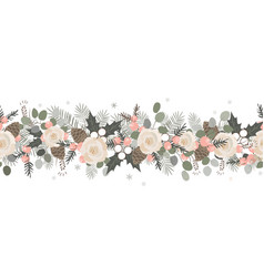 christmas seamless garland hand drawn vector image