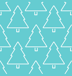 christmas tree outline seamless pattern vector image