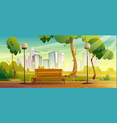city park with wooden bench and green trees vector image