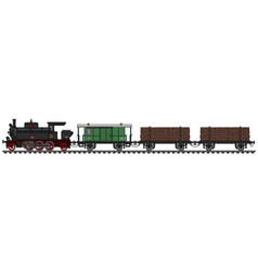 Classic timber steam train vector