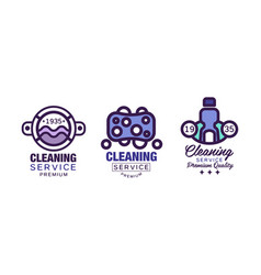 cleaning service logo template with soap bubbles vector image