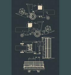 combine harvester blueprints vector image