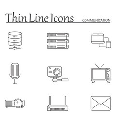 Communication line icons set outline vector