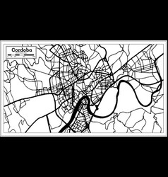 cordoba spain city map in retro style outline map vector image