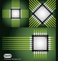 cpu processor microchip layout vector image
