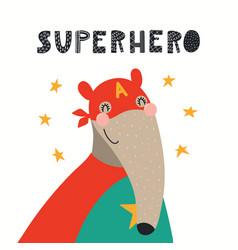 Cute anteater superhero vector