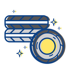 cute tires car style design vector image