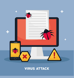 Desktop and cyber security icons vector