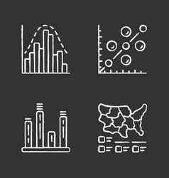diagrams chalk icons set histogram bar graph vector image