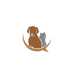 dog and cat friendly pet family logo design vector image