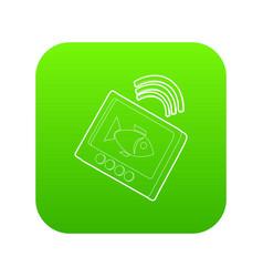 Echo sounder icon green vector