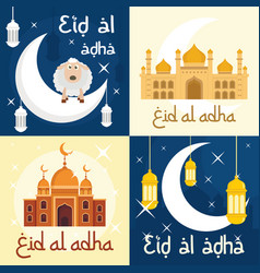 eid al adha festival banner set flat style vector image