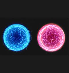 Electric balls lightning circle strike plasma vector