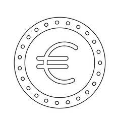 euro coin currency money cash icon vector image