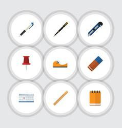 Flat icon stationery set of nib pen straightedge vector