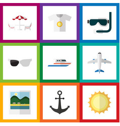 Flat icon summer set of scuba diving reminders vector
