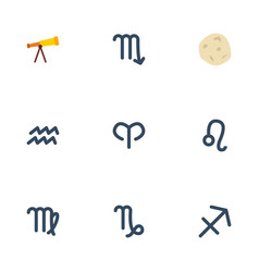 flat icons comet water bearer optics and other vector image