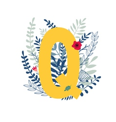 Floral alphabet letter q vector