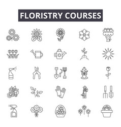 Floristry education line icons signs set vector
