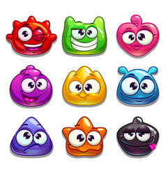 Funny cartoon jelly characters vector