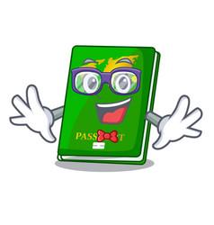 Geek green passport in the cartoon shape vector
