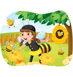 Girl in bee costume playing in the park vector