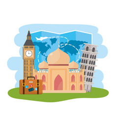 Global map and international place destination vector