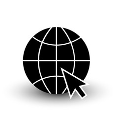 Globe wireframe black icon with cursor isolated vector