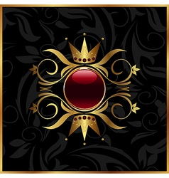 golden floral frame with crown vector image