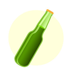 Green beer bottle in simple style vector
