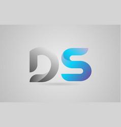 Grey blue alphabet letter ds d s logo icon design vector