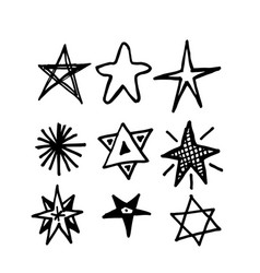 Hand drawn star icon doodle vector