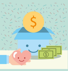 hand with heart and kawaii box money donate vector image