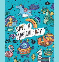 Have a magical day card with real magical and vector