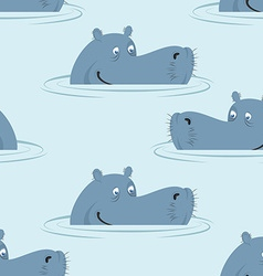 Hippo in water seamless pattern Good hippopotamus vector