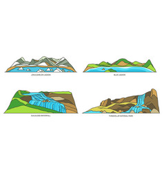 Iceland nature natural landmarks travel icon set vector