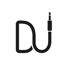 isolated dj logo wire cable audio jack music vector image