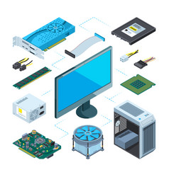 Isometric of computer hardware vector