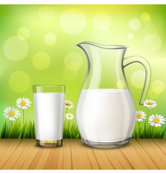 Jug And Glass Of Milk vector image